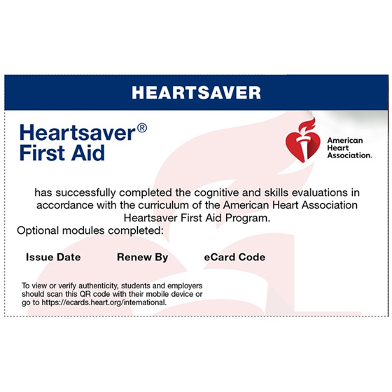 Heart Saver FIRST AID Initial / Renewal Course [Heart Saver First